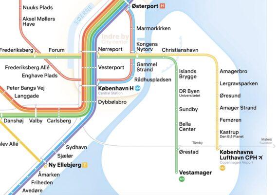Plan du métro pour le centre de Copenhague