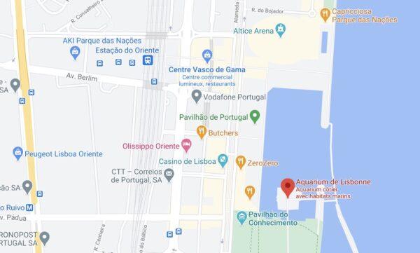 Accès et parking à l'aquarium de Lisbonne