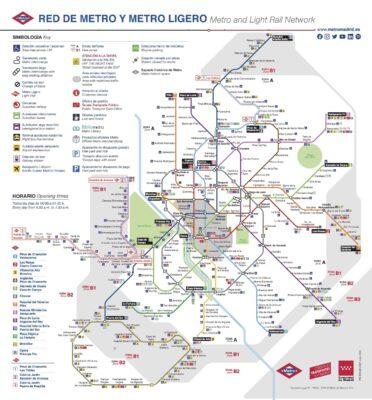 Carte des stations de métro de Madrid