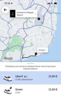 Trajet Uber de l'aéroport au centre ville de Lisbonne