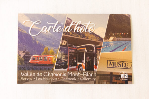 Carte d'hôte pour un hébergement à Chamonix