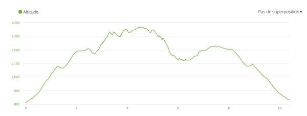 Profil et dénivelé pour l'ascension de la montagne Pelée