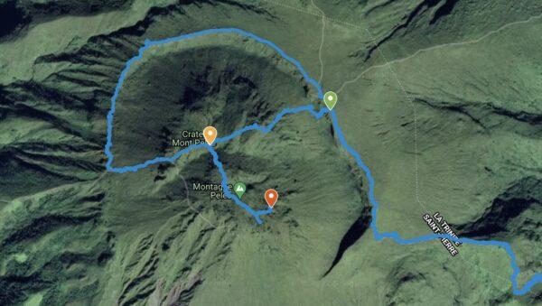 Tracé GPS et vue satellite de la randonnée sur la montagne Pelée