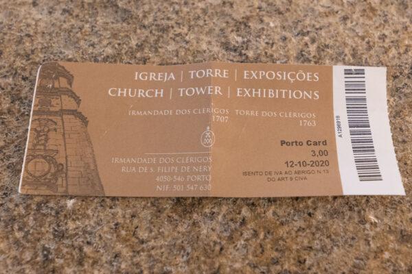 Billet pour la tour des Clercs