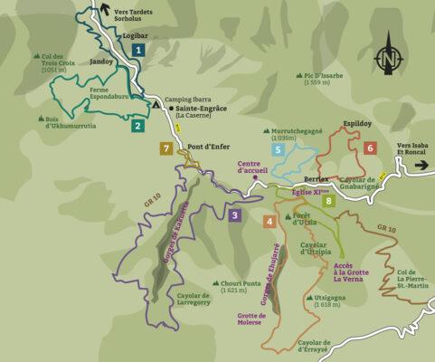 Plan des sentiers des gorges de Kakuetta