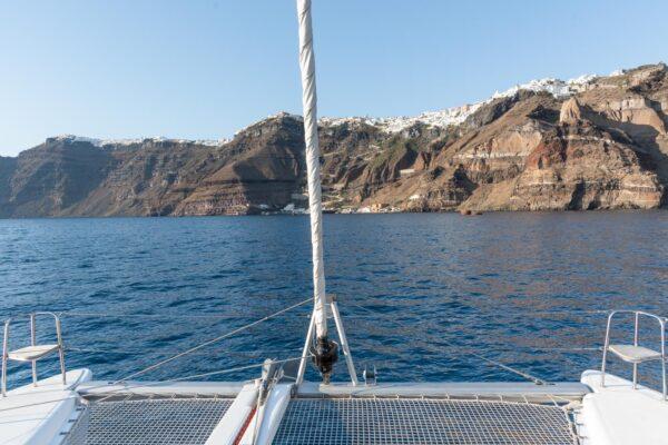 Vue depuis les filets du catamaran